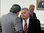 N.C. Sen. Tom Apodaca, R-Henderson, listens to state Sen. Martin Nesbitt, D-Buncombe, on the Senate floor in April 2011. Photo by Travis Fain.