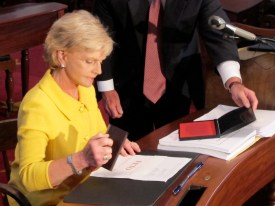 Gov. Bev Perdue, a Democrat, vetoed the North Carolina state budget. But the Republican-led House and Senate overrode her veto, a sign of the GOP's growing political power in North Carolina. Photo by Travis Fain.