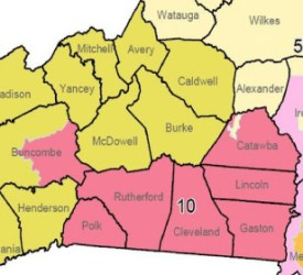 Changes to the 10th and 11th Congressional districts in Western North Carolina are tied up in court. Click to view full-size image.