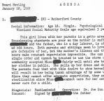 A portion of the summary file for a 18-year-old girl from Rutherford County who was sterilized during the state's eugenics program. Click to view full-size image.