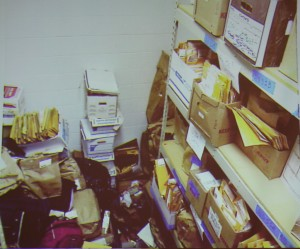 Pictures shared by Blueline Systems & Services Manager Mike Wright at the July 2012 Asheville City Council meeting showed some of the storage and filing conditions of evidence in the Asheville Police Department's old evidence room. Katie Bailey/Carolina Public Press