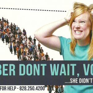 This recently sent mailer, from the Buncombe County Board of Elections, alerts voters to the start date for early voting.