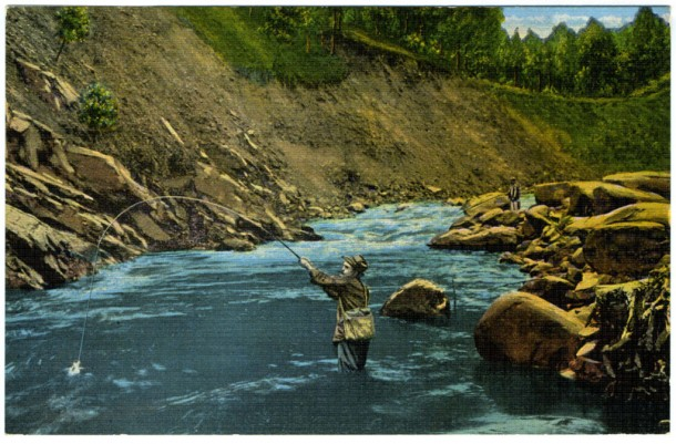 A postcard, circa 1930-1945, of fishermen in the Smokies.