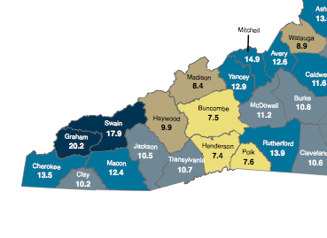 February 2013 unemployment across Western North Carolina. Map courtesy of the N.C. Department of Commerce.