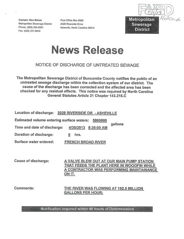 News release on the April 30 sewage spill on the French Broad River. Click to view full-size image.