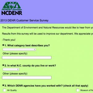 The 11-question survey asks for feedback on experiences with the N.C. Department of Environment and Natural Resources.