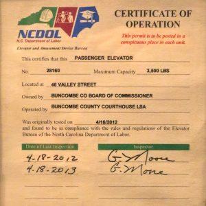 Buncombe elevator certificate