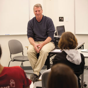 "Dan Pierce, chair and professor of history, pictured in the classroom, will teach the writing intensive course, ""The Historian's Craft,"" this fall. Photo courtesy of UNC Asheville."