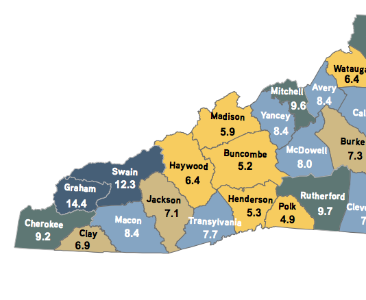 January 2014 unemployment rates in Western North Carolina. Map courtesy of the N.C. Department of Commerce.