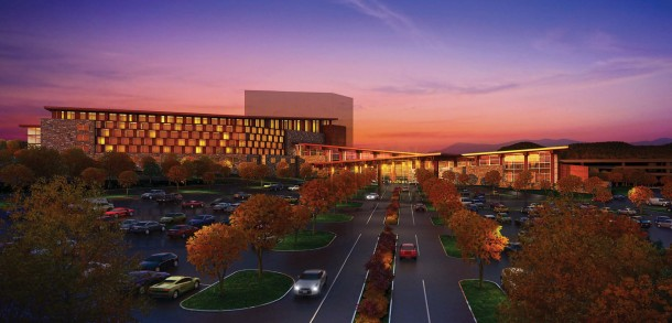 An artist rendering of the Cherokee Valley River Casino, now under construction in Cherokee County near the town of Murphy. Photo courtesy of Harrah's.