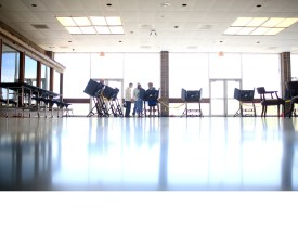 Voters take to the booths at the Madison High School polling location in Madison County. At around 2 p.m. Tuesday, 194 voters had cast a ballot at the school. Colby Rabon/Carolina Public Press