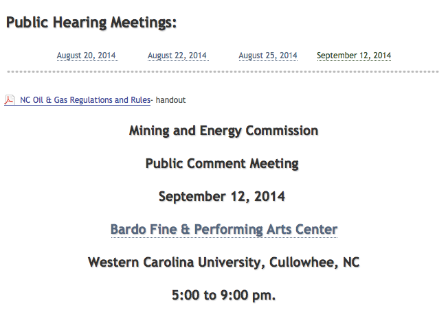Fracking public hearing in WNC