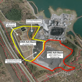 Coal ash ponds and basins at Duke Energy's Asheville plant. Duke Energy graphic. Click to view full-size image.