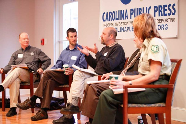The Newsmakers forum, held on Nov. 13 in Asheville, featured (left to right) Gordon Warburton with the NC Wildlife Resources Commission, Kevin Colburn with American Whitewater, Jack Igelman with Carolina Public Press, Hugh Irwin with The Wilderness Society and Kristin Bail with the National Forests of NC. Matt Rose/Carolina Public Press