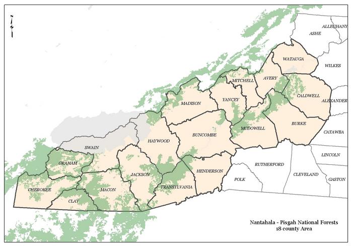 Map of the Pisgah and Nantahala national forests - Carolina ...