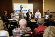 Panelists addressed a variety of moderator and audience questions about water ownership in Western North Carolina. Matt Rose/Carolina Public Press