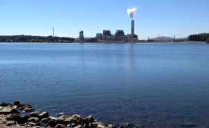 Duke Energy Progress has proposed replacing its coal-fired power plant on Asheville's Lake Julian, seen here, with a complex of natural-gas plants. (Photo by Frank Taylor)