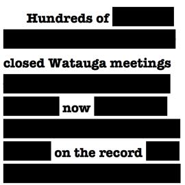 Watauga closed meetings graphic