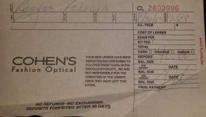 This claim ticket for lenses with a $140 deposit down was found in Felicia Reeves' motel room after her death. It was purchased on Aug. 21, the same day she arrived in the New York City area.