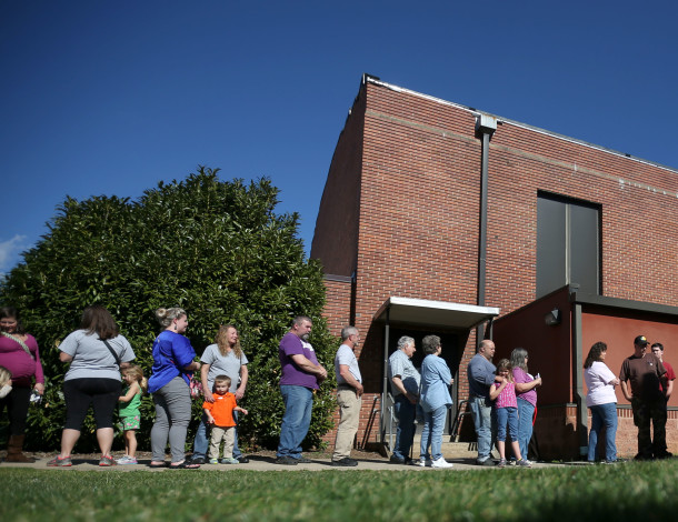 PrimaryVoters stand in line at Leicester Elementary School in Buncombe County on March 15, 2016.