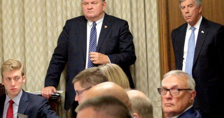 Rep. Chuck McGrady and Robert Stephens, the governor's chief legal counsel, during committee discussions on coal ash legislation in May 2016. Kirk Ross / Carolina Public Press