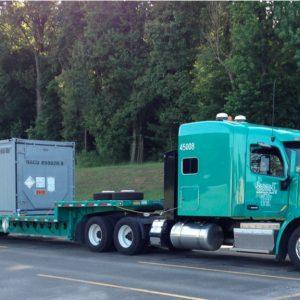 Truck hauls liquid nuclear waste.
