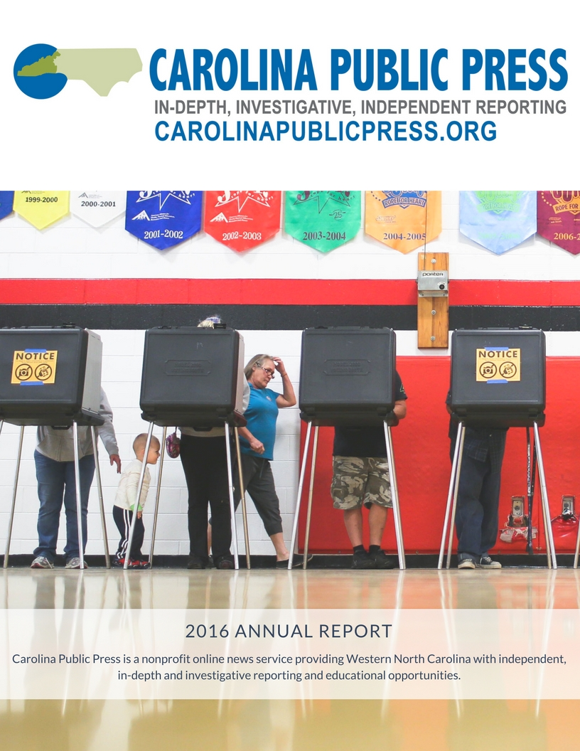 Cover of the Carolina Public Press 2016 Annual Report