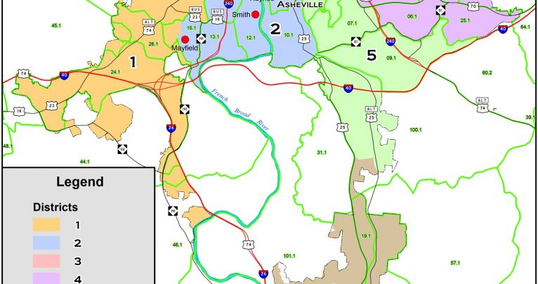 Proposed Asheville voting districts.