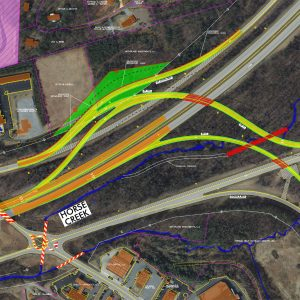 NC DOT map of planned highway reconfiguration in Polk County.