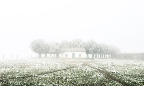 stock image of home in fog
