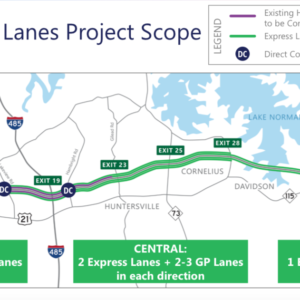 Projected route for I-77 toll lane project north of Charlotte