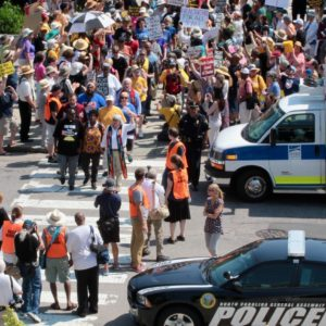 Protesters face arrest outside North Carolina General Assembly.