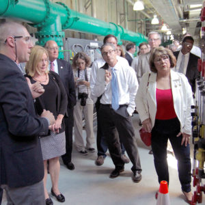 Legislators tour a water filtration plant near Wilmington in 2017.