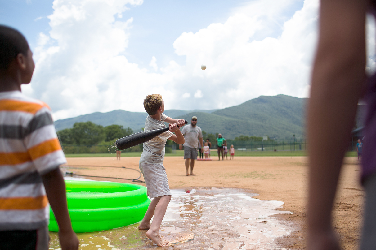 Water wiffle ball at Black Mountain Children's Home on July 5, 2018