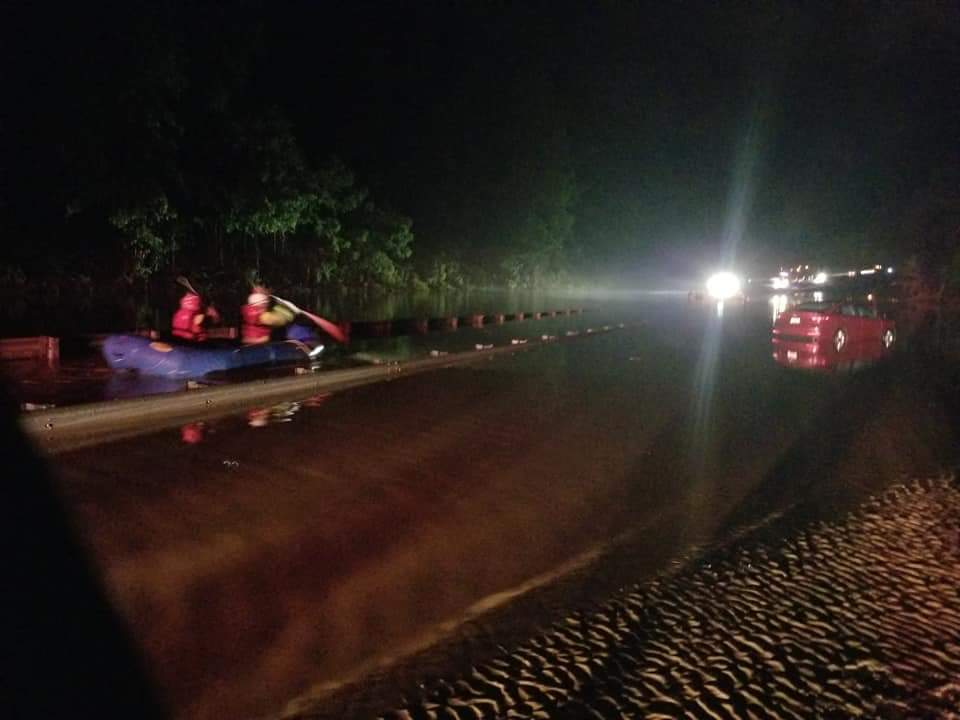 Boat rescue during Polk County flooding in May 2018