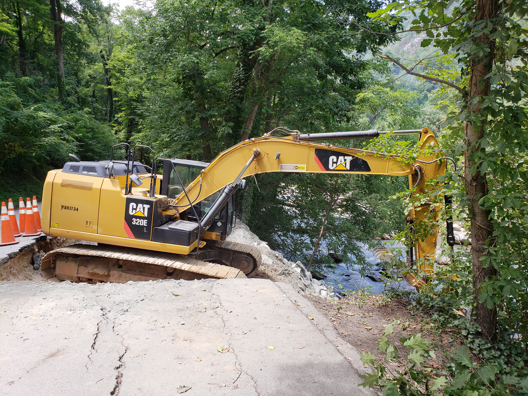 Heavy Equipment Works To Repair Roadways At Chimney Rock State Park That Were Damaged By A Series Of Rains Struck Western North Carolina In May