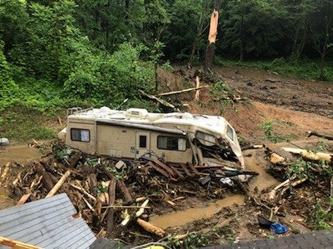 Stranded RV after May 2018 mudslides in Polk County