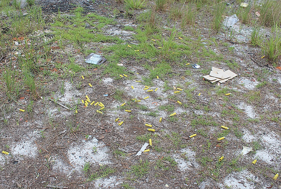 Trash in Croatan National Forest near an illegal shooting range