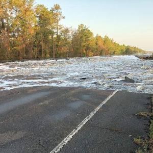 Water flowing across U.S. 421 in Pender County.