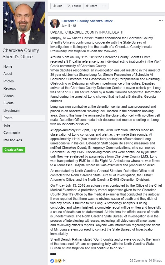 Cherokee County Sheriff's Office Facebook page screenshot