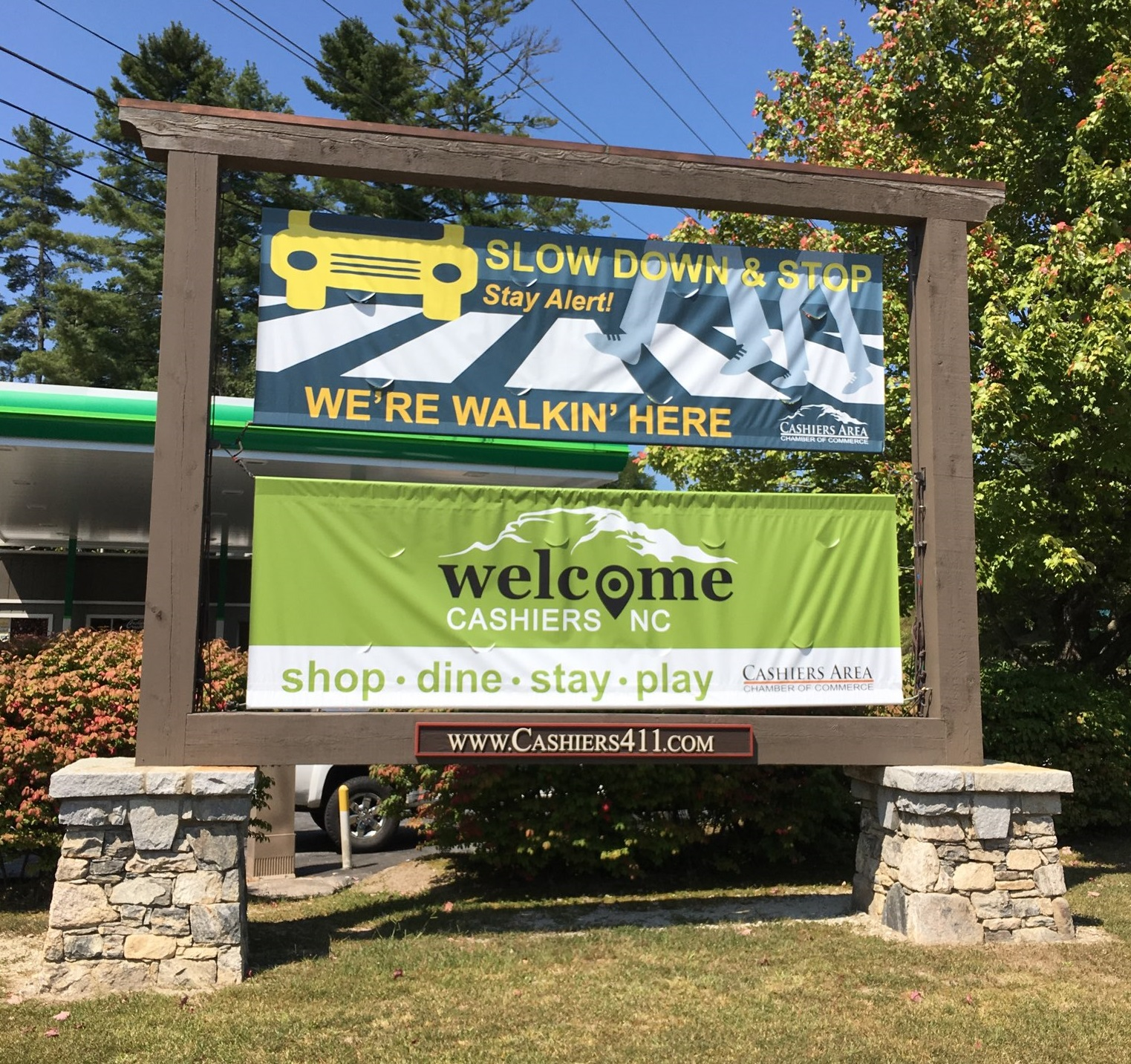 Cashiers welcome sign
