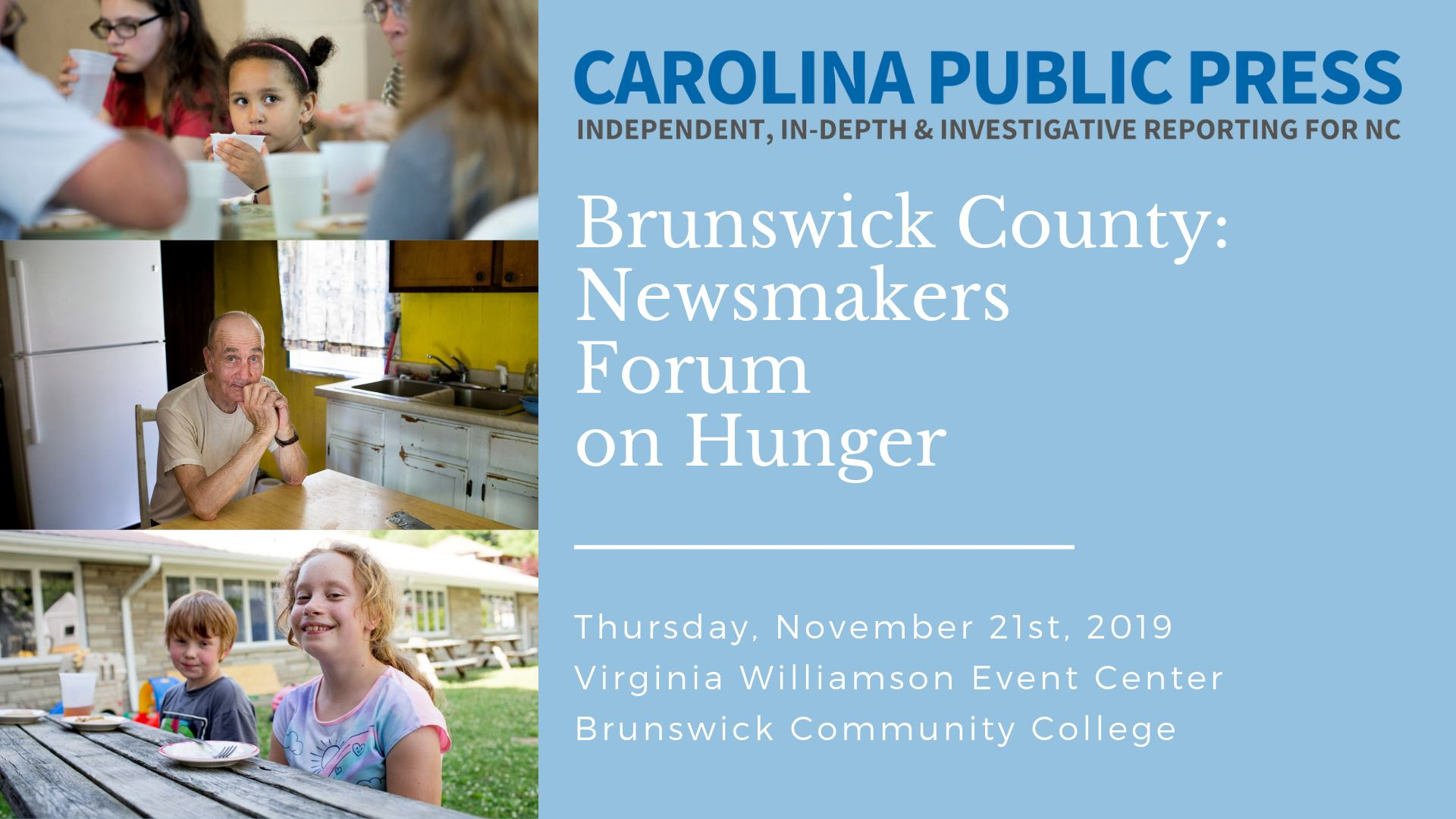 RSVP for free forum about hunger in Brunswick County