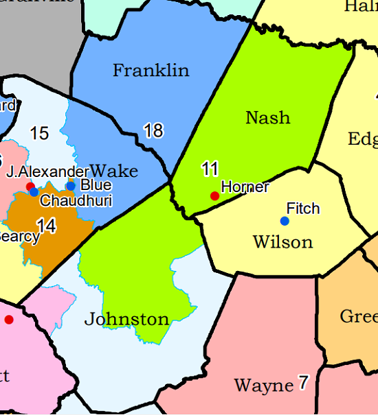 NC Senate District 11 in map for 2020 election.