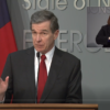 Gov. Roy Cooper announces an executive order to prevent utility cutoffs during the coronavirus crisis as he speaks at a Tuesday afternoon press conference. Screen grab from UNC-TV