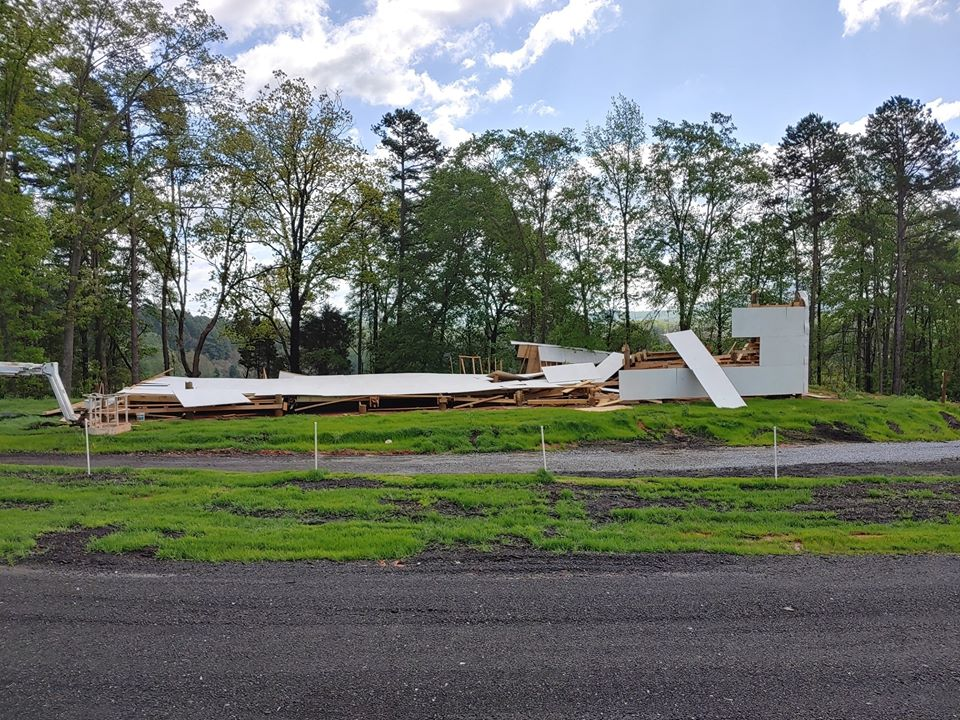 Drive-in theaters, already an endangered species, are getting off to a late start due to coronavirus and bad weather. Here, a hoped-for third screen at Hound's Drive-in Theater at Kings Mountain is destroyed by this past weekend's storm. Photo courtesy of Hound's Drive-in Theater.