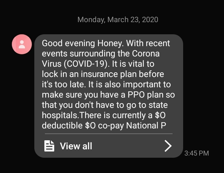 Screenshot of a phone receiving a scam message. Photo courtesy of the NC Department of Justice